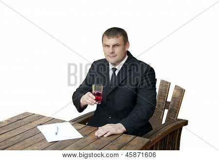 A Man With A Glass Of Dissolved Arginine