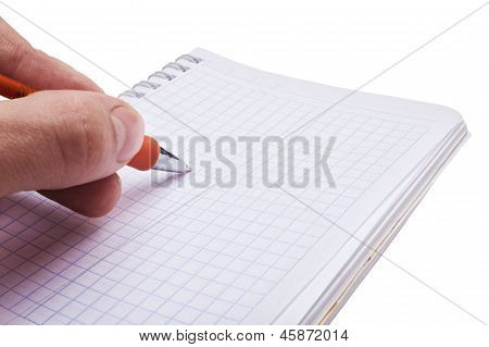 Hand Writing A Message In The Open Notebook