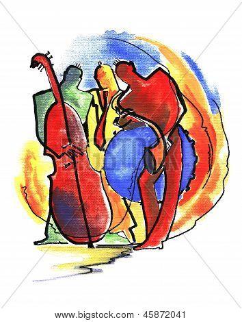 Jazz trio playing music