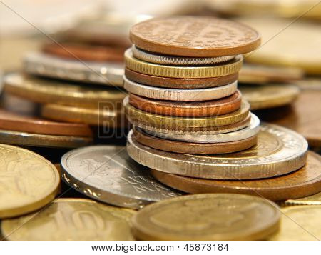 Stack Of Different Coins.