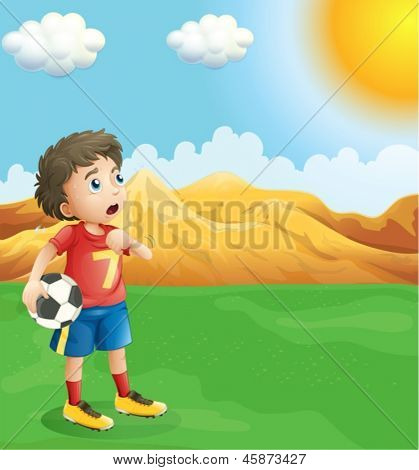 Illustration of a boy holding a soccer ball sweating