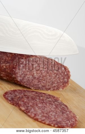 Cutting Salami Hot Sausage With Welded Knife