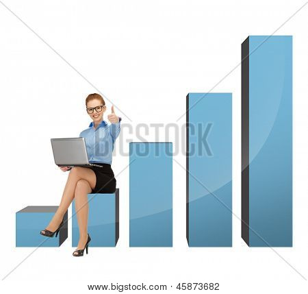 beautiful businesswoman sitting on big 3d chart with laptop