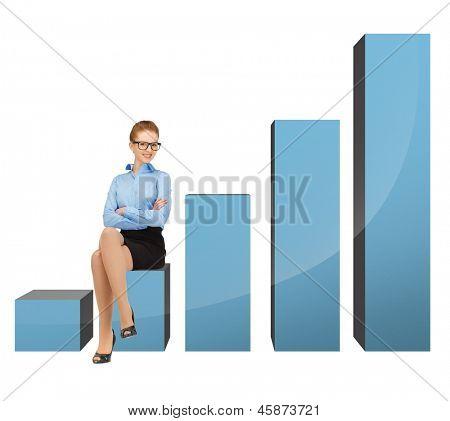 Bild von schönen geschäftsfrau sitzen auf großen 3D-Diagramm