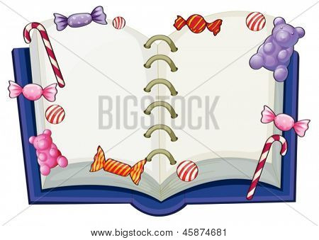 Illustration of a book surrounded with sweet candies on a white background