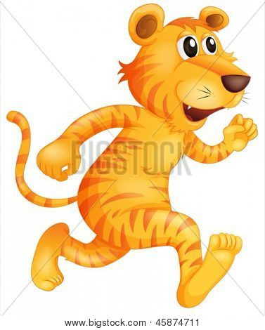 Illustration of a young tiger running on a white background