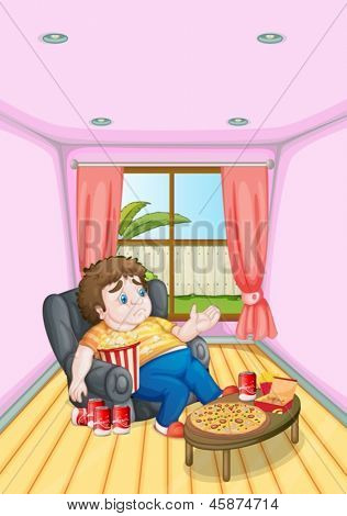 Illustration of a fat young man in front of a table full of foods