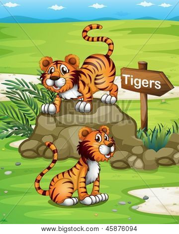 llustration of the two tigers near the wooden arrowboard