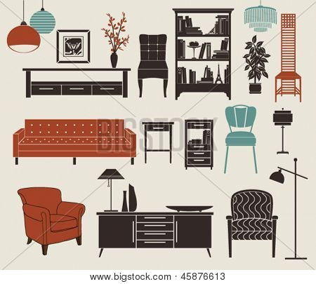 Furniture and Home Accessories - Set of design elements, including chest of drawers, bookshelf, stylized chairs, armchair, vintage chandeliers and home decoration