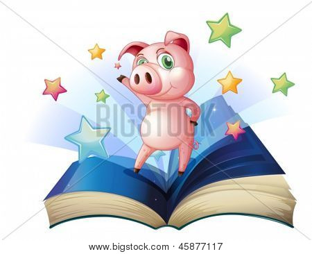 Illustration of a book with an image of a pig dancing on a white background