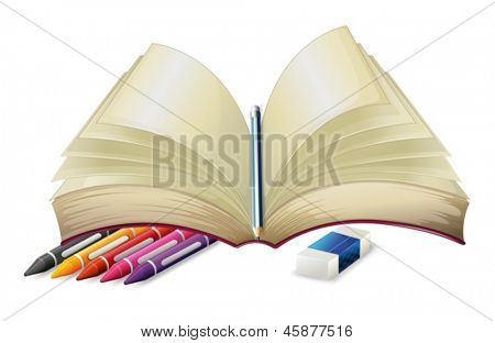 Illustration of a book with a pencil, an eraser and crayons on a white background