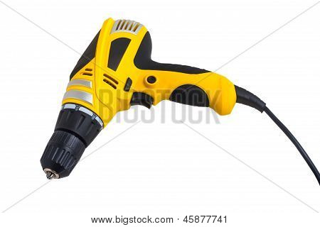 tool drill yellow isolated on white (clipping path)