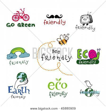 Set of vector eco labels in doodle hand-drawn style