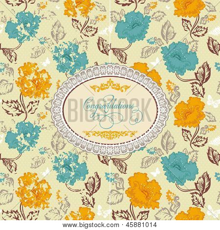 Abstract Beautiful Seamless retro colourfull flower pattern. Vector illustration texture