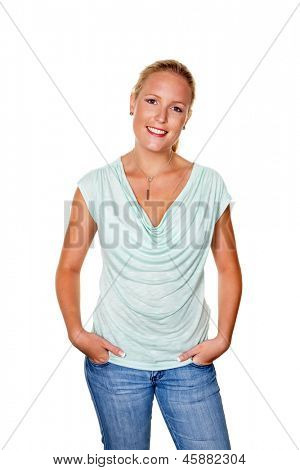 a young woman in jeans standing against a white background