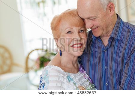 Happy Senior Couple In Diningroom
