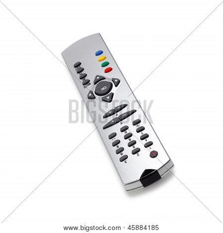 tv remote control access monitoring support isolated on white ba