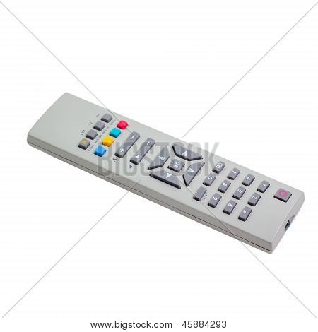 tv silver remote control isolated white background (clipping pat