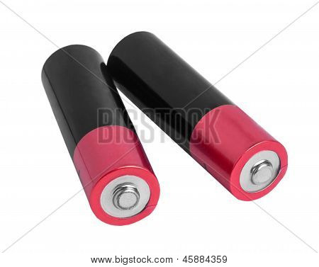 two pink battery (AA) isolated on white background (clipping pat