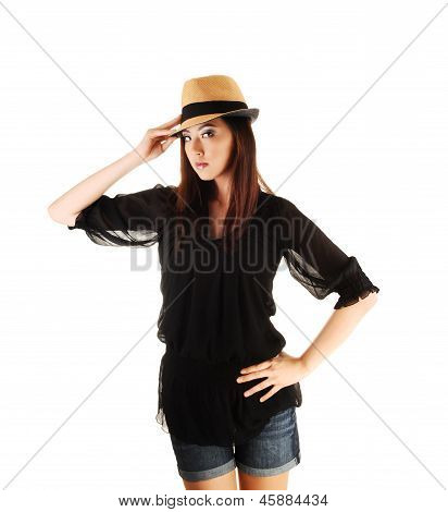 Chinese Girl With Straw Hat.