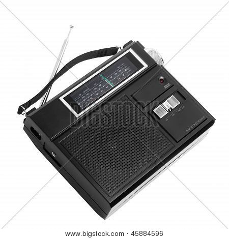 vintage black radio to listen isolated station waves