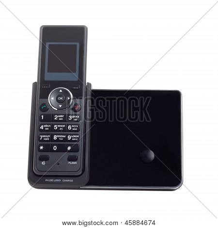 wireless black cordless phone isolated on a white background