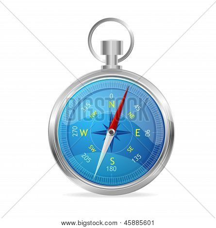 Blue Compass with windrose. Vector Illustration.