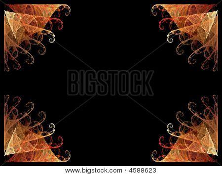 Frontera de ventilador esquina naranja con negro copia espacio
