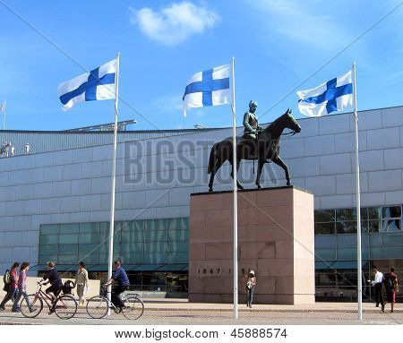 The famous Mannerheim statue in front of Kiasma, Helsinki's museum for modern art