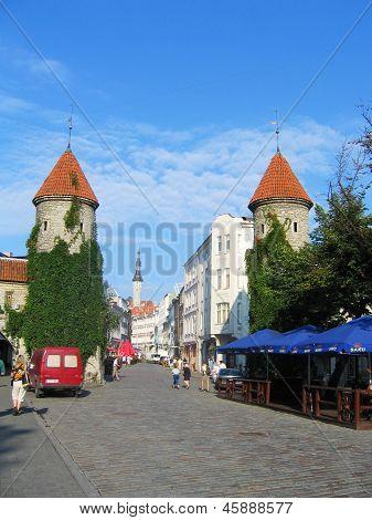 Viru Gate, entrance to the Old Town in Tallin, Estonia