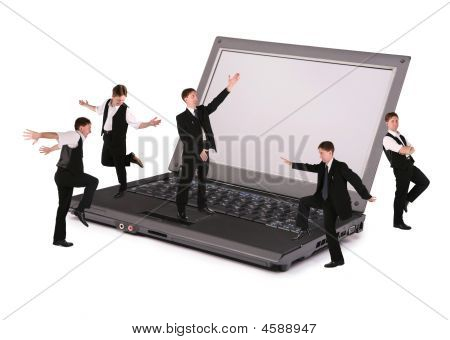 Business Team On Notebook Collage