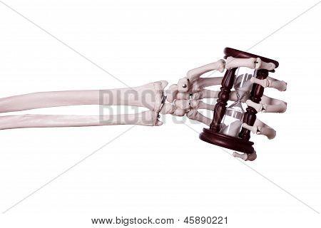 Sand Timer In Skeleton Hand