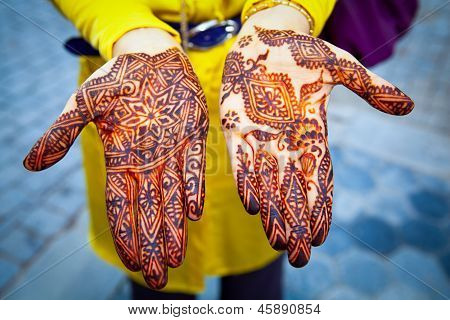 Hands Painted With Henna, Close Up