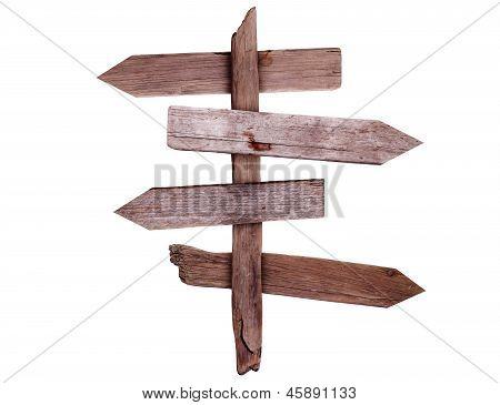Sinais de direção de madeira velha