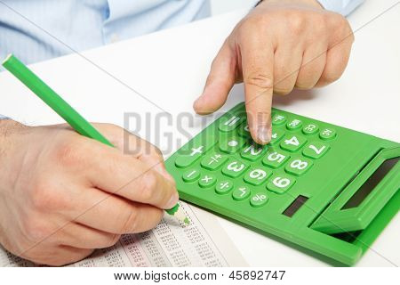 The Businessman And Green Calculator