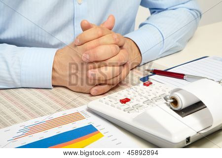The Businessman And Calculator. Rest