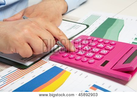 The Businessman And Red Calculator