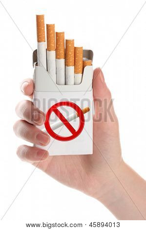 Woman hand with box of cigarettes, isolated on white