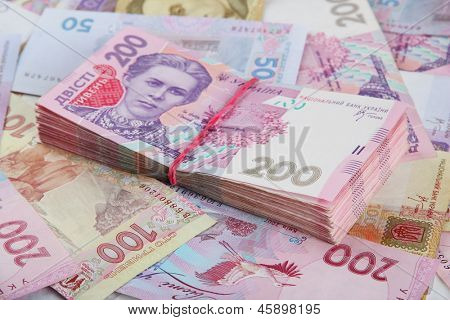Pile of Ukrainian money