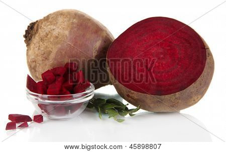 Sliced beetroot isolated on white