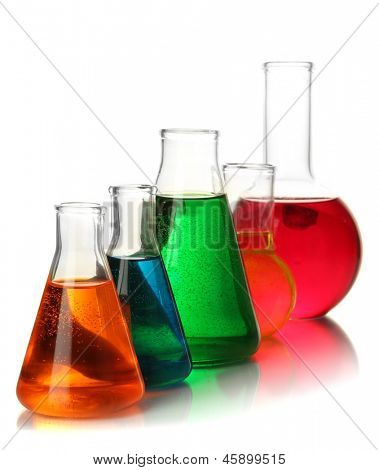 Test tubes with colorful liquids isolated on white
