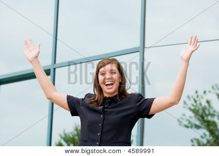 Enthusiastic Young Business Woman
