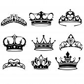 stock photo of queen crown  - A vector illustration of crown icon sets - JPG