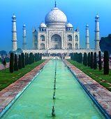 India, Taj Mahal. Indian palace Tajmahal world landmark. poster