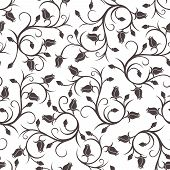 image of rose bud  - Vector seamless pattern with black silhouettes of roses - JPG