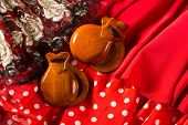 image of castanets  - castanets fan and flamenco comb typical from Spain Espana elements - JPG
