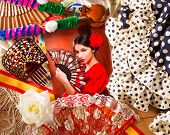 picture of castanets  - Flamenco woman with bullfighter and typical Spain Espana elements like castanets fan and comb - JPG