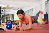 image of elbow  - Crossfit fitness woman push ups elbow forearms pushup exercise - JPG