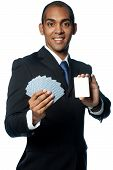 Businessman With Cards