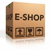 Web-e-Shop Symbol online Internet shopping Konzept Karton mit Text-e-commerce